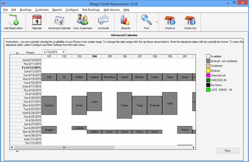 iMagic Hotel Reservation - Advanced Calendar Screen